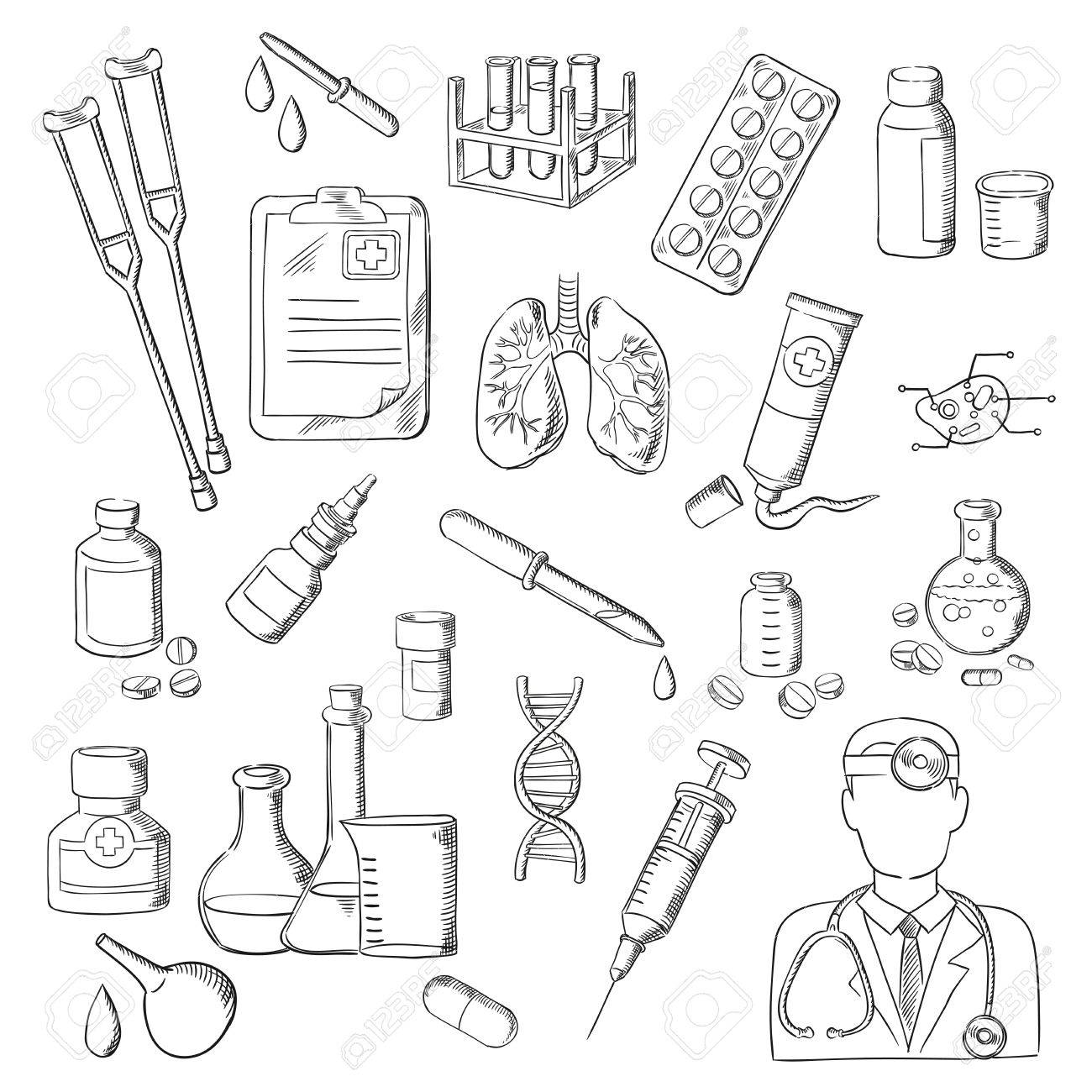 1300x1300 Sketches Of Doctor With Stethoscope, Pill, Syringe, Test Tube