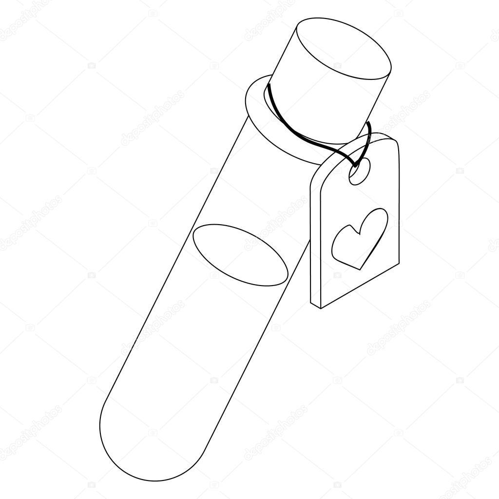 1024x1024 Test Tube Of Love Elixir Icon, Isometric 3d Style Stock Vector