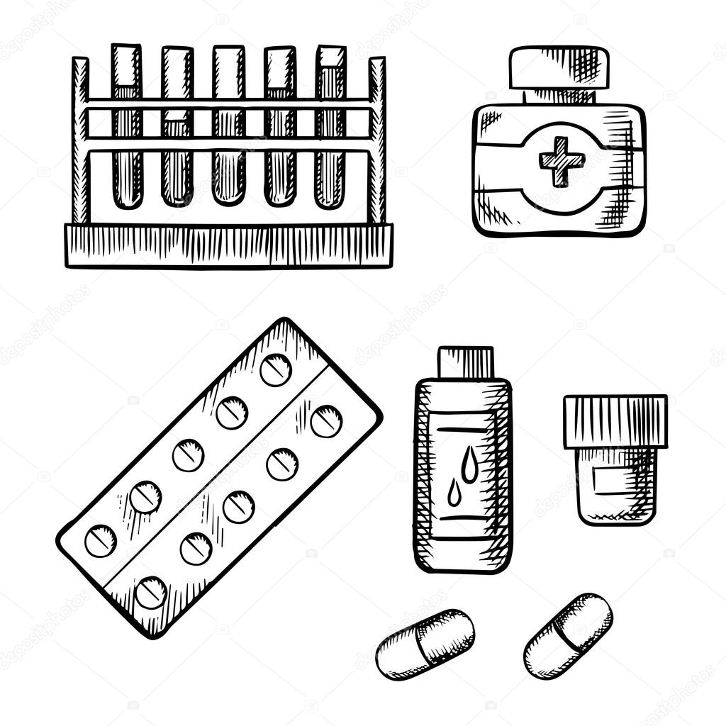 1024x1024 Blood Test Tubes, Bottles And Pills Sketch Stock Vector
