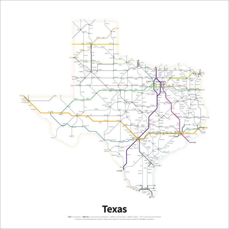 800x800 Every Us Highway Drawn In The Style Of A Transit Map