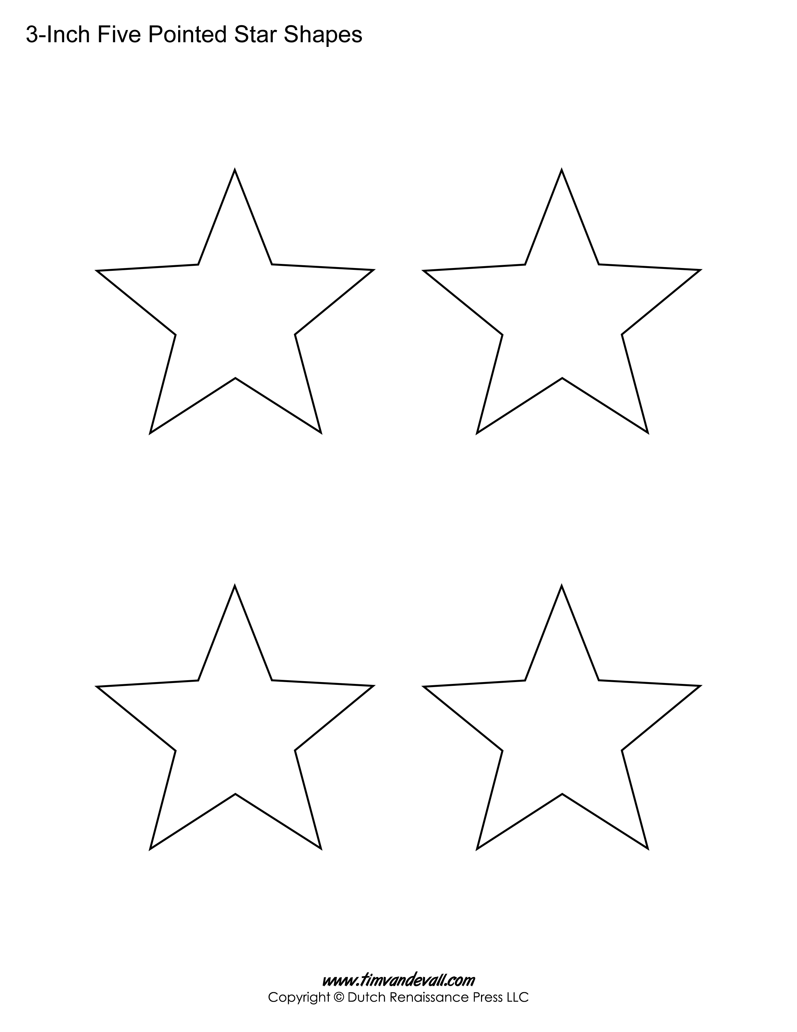 2550x3300 Printable Five Pointed Star Templates Blank Shape PDFs