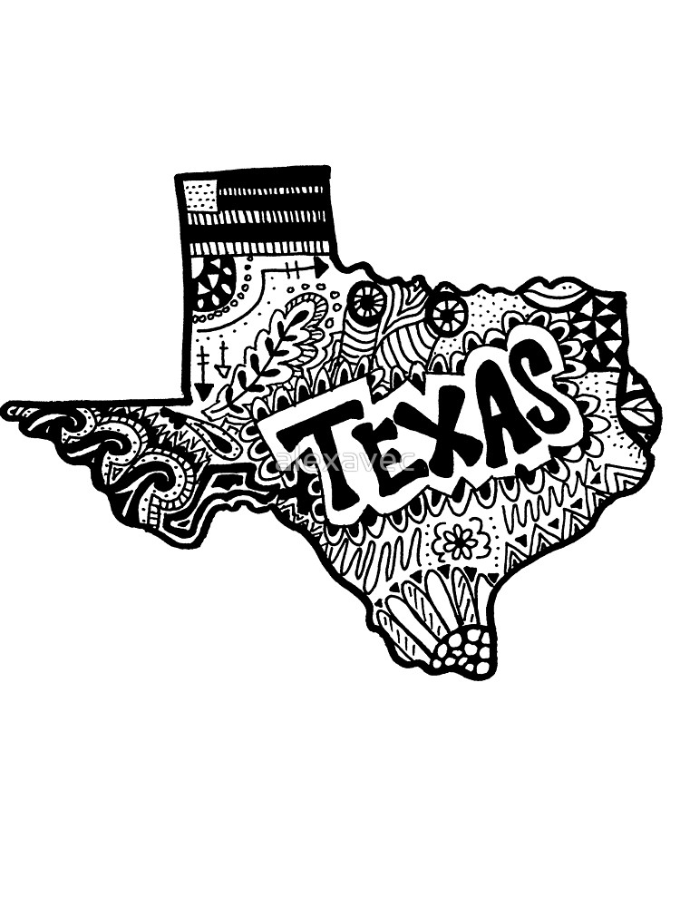 750x1000 Hipster Texas State Zentangle By Alexavec Redbubble