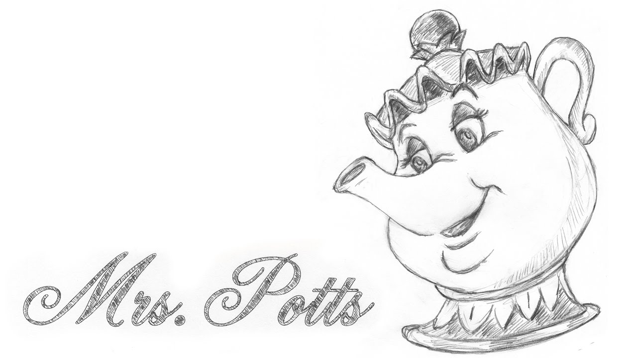 1280x720 Speed Drawing Mrs. Potts From Disney Beauty And The Beast
