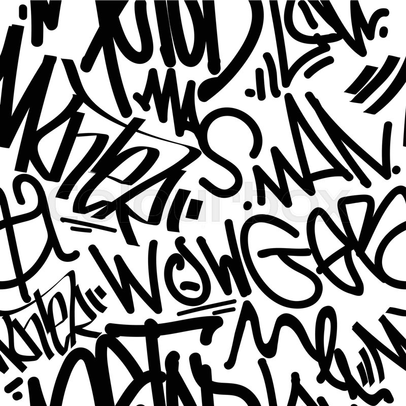 800x800 Vector Tags Seamless Pattern. Fashion Graffiti Hand Drawing