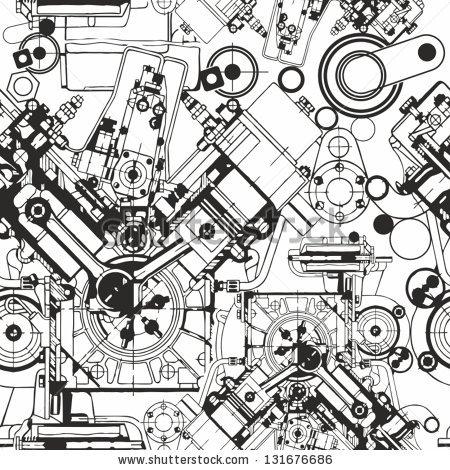 450x470 Drawing Engine Seamless Pattern, Background. Seamless Pattern Can