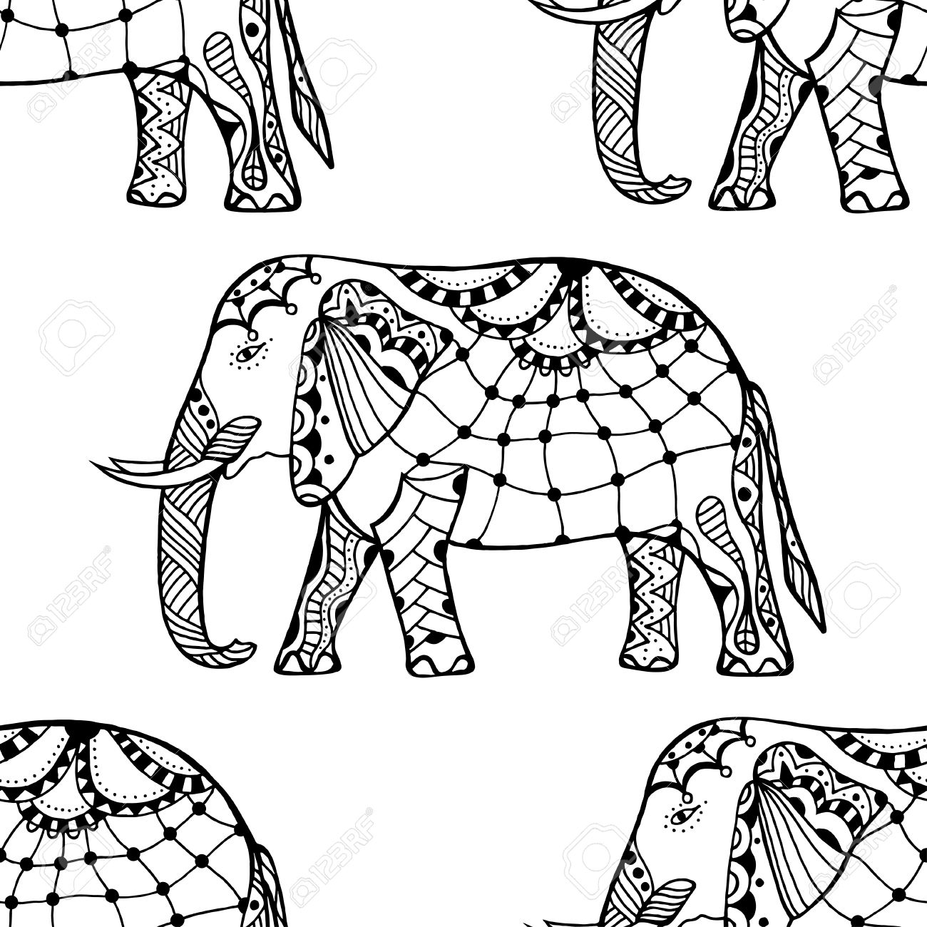 1300x1300 Ethnic Ornate Seamless Pattern With Hand Drawn Elephants And Ohm