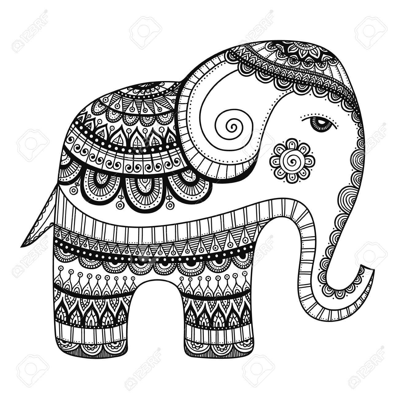 1300x1300 Indian Elephant. Hand Drawn Doodle Indian Elephant With Tribal