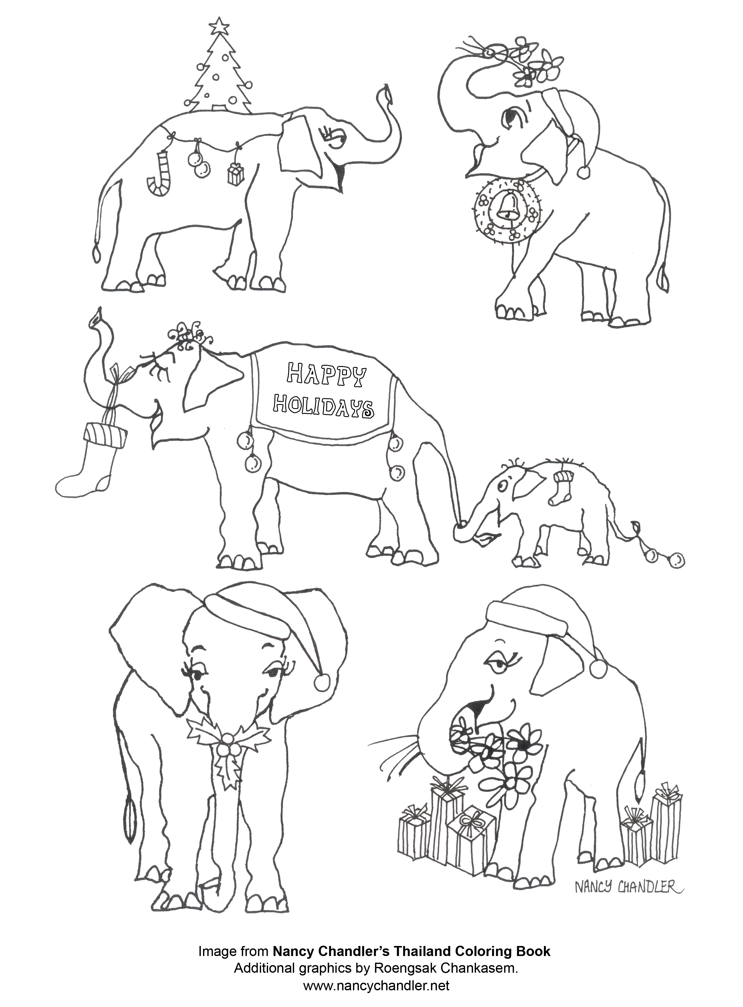 2448x3318 Nancy's Christmas Elephants Coloring Page