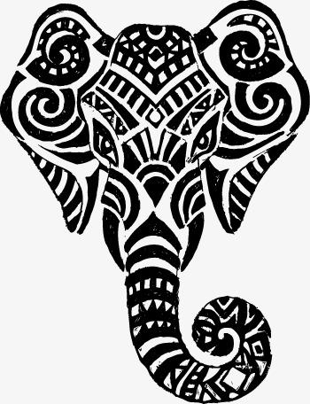 350x456 Thai Elephant Positive Face Lines, Vector, Decoration, Thailand