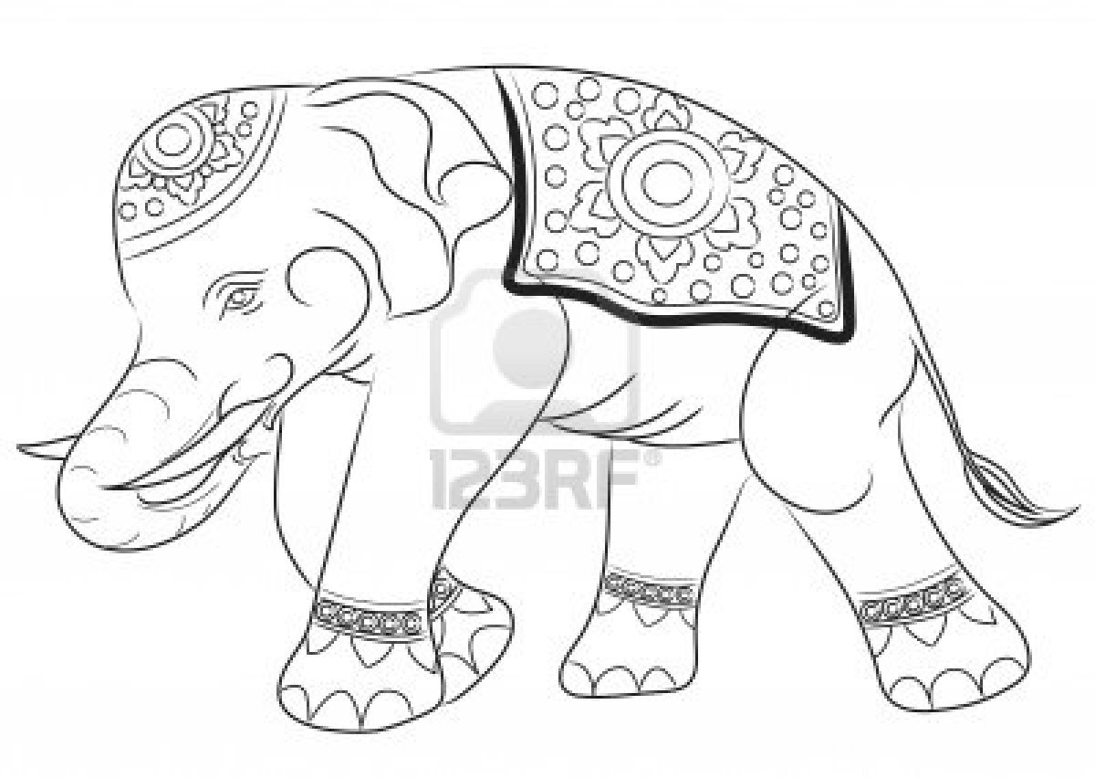 1200x852 Asian Elephant Drawing By Illustration Royalty Free Stock Photo