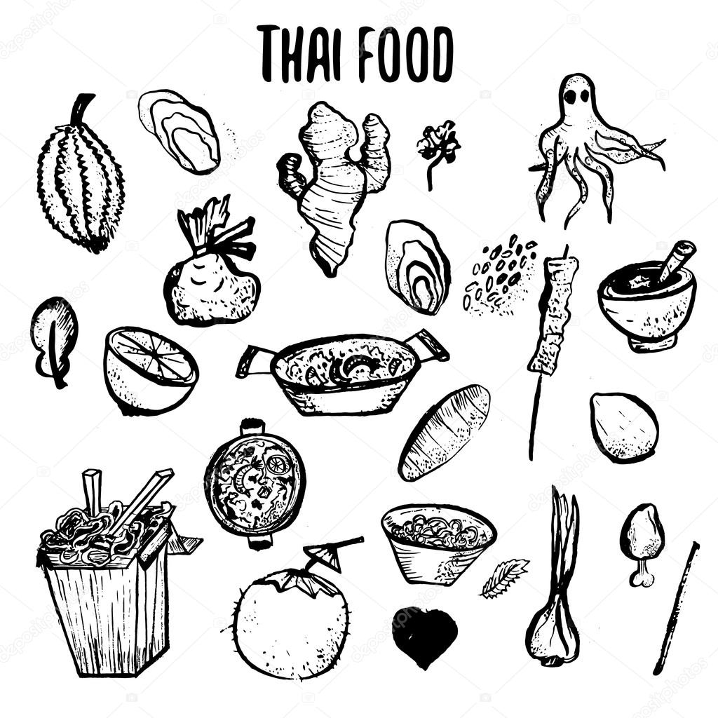 1024x1024 Set Of Thai Food Hand Drawn Rough Doodles. Simple Thai Sketches