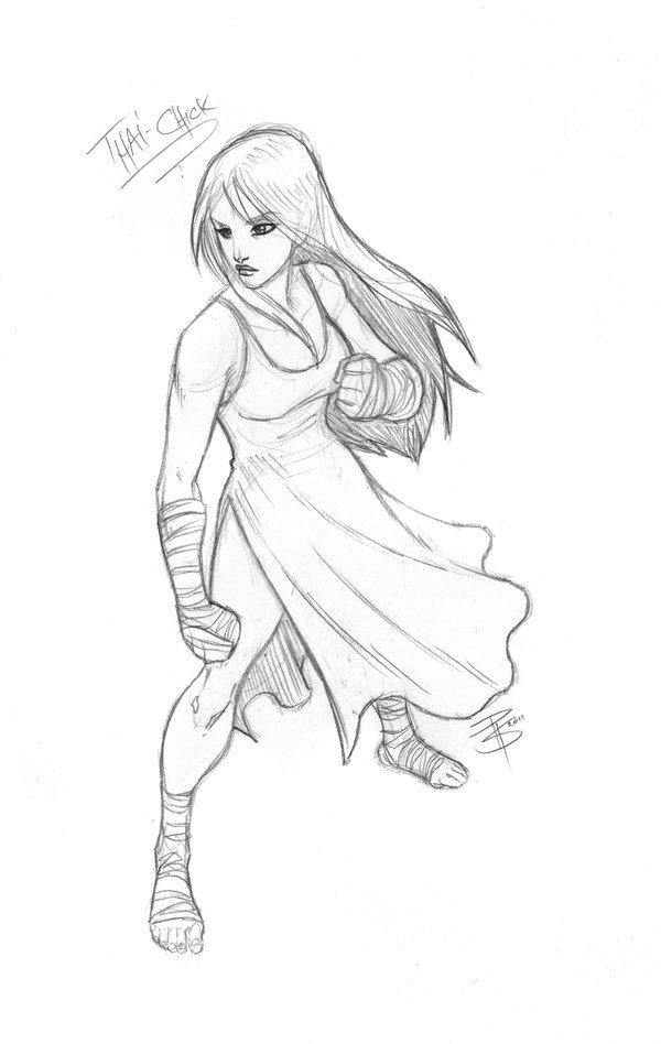 600x948 Sketchcom Muay Thai Girl By Fooray