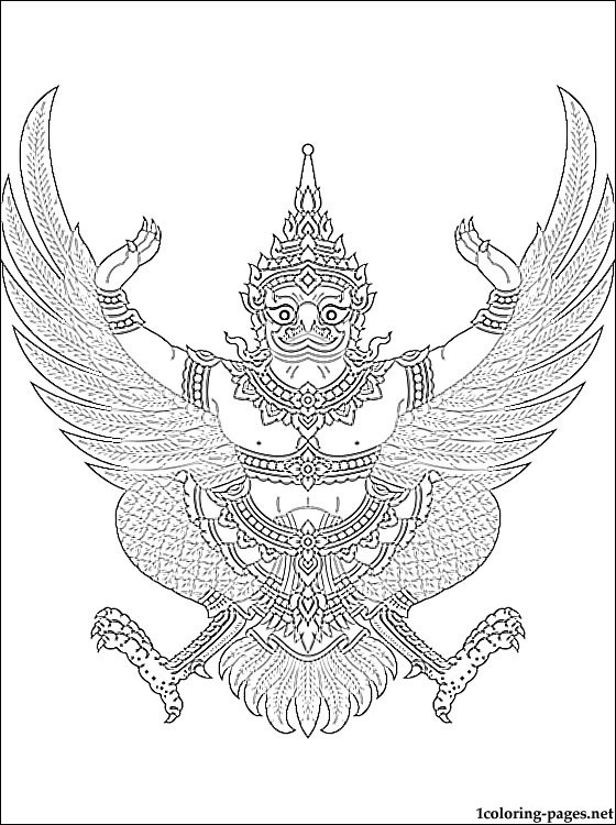 560x750 Thailand Coat Of Arms Coloring Page Coloring Pages