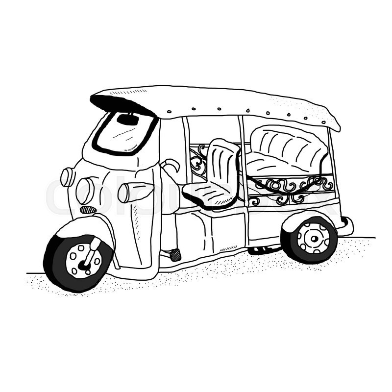 800x800 Traditional Thailand's Taxi Name Is Tuk Tuk Freehand Draw Vector