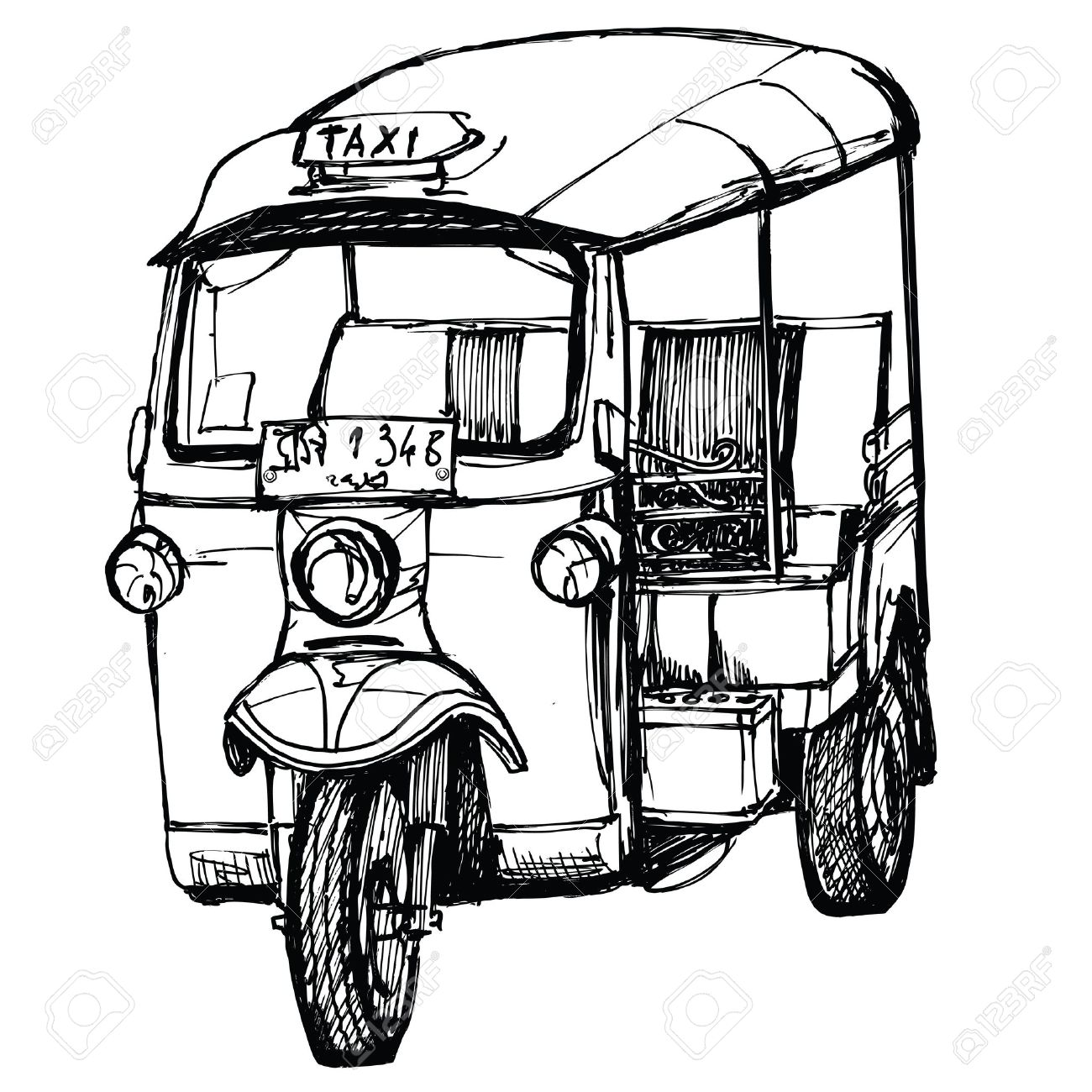 1300x1300 Tuk Tuk In Thailand (Hand Drawing) Stock Photo, Picture