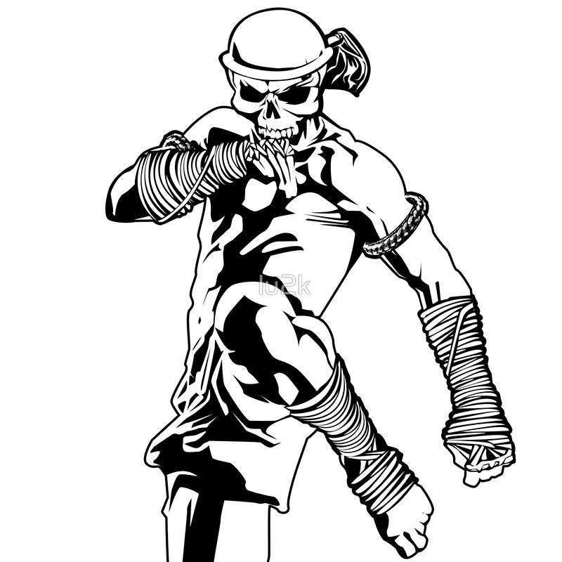800x800 Muay Thai Skull Thailand Martial Art Sport Power Kick Impact Decal