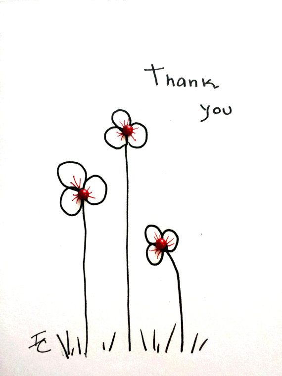 570x760 Lovely Floral Hand Drawn Thank You Card. By Abuelacohens On Etsy