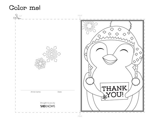 640x494 Penguin Holiday Thank You Card