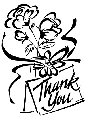300x409 Thank You Card Clipart Black And White