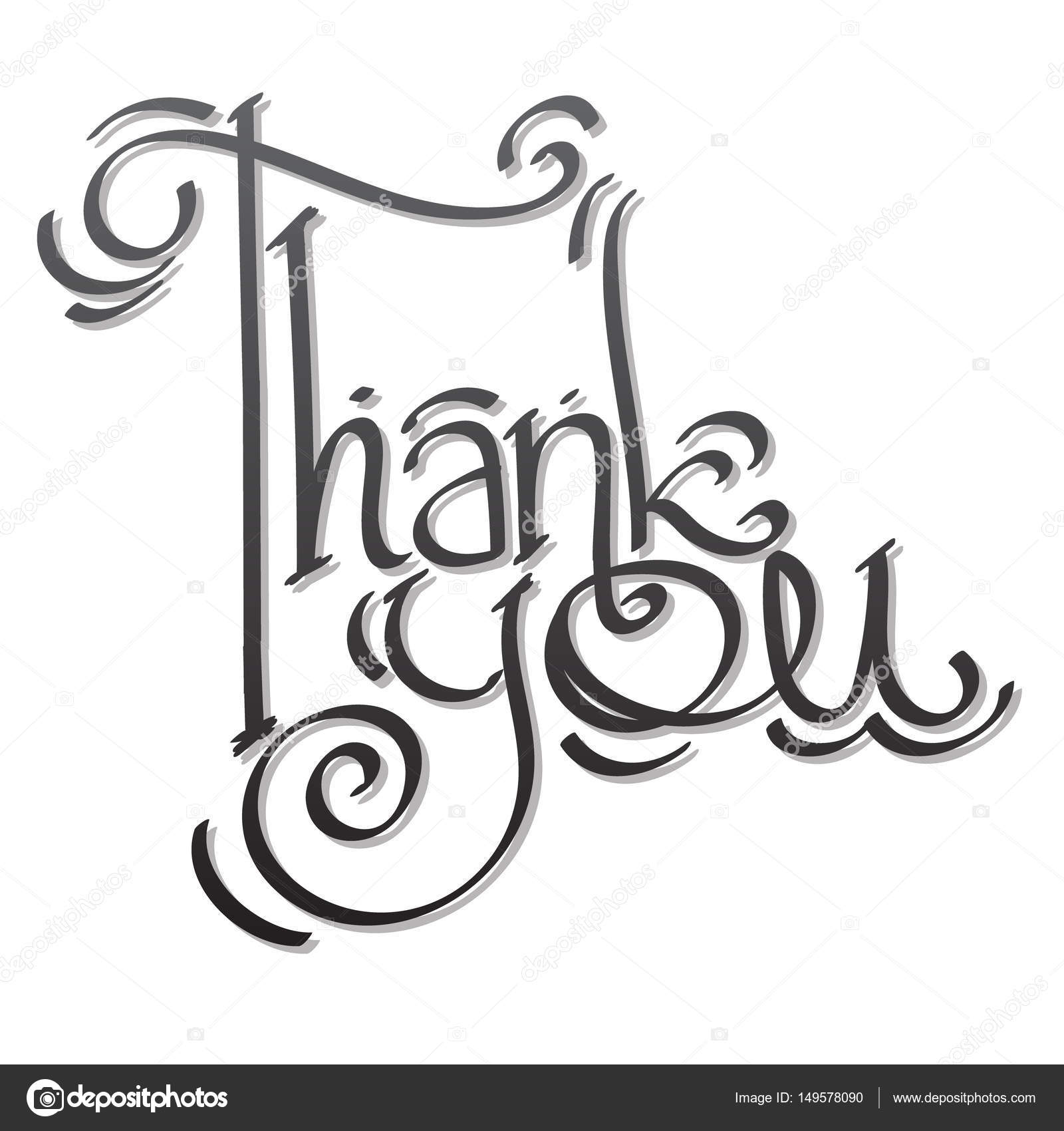 1600x1700 Thank You Lettering Hand Drawing. Stock Vector Filkusto