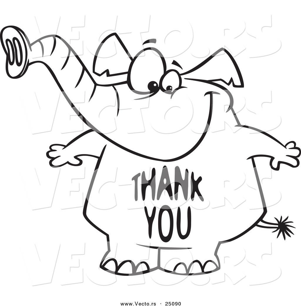1024x1044 Vector Of A Cartoon Elephant With A Thank You Belly