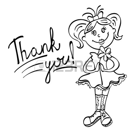 450x450 Drawing Girl With Flower Says Thank You Black Lines On A White
