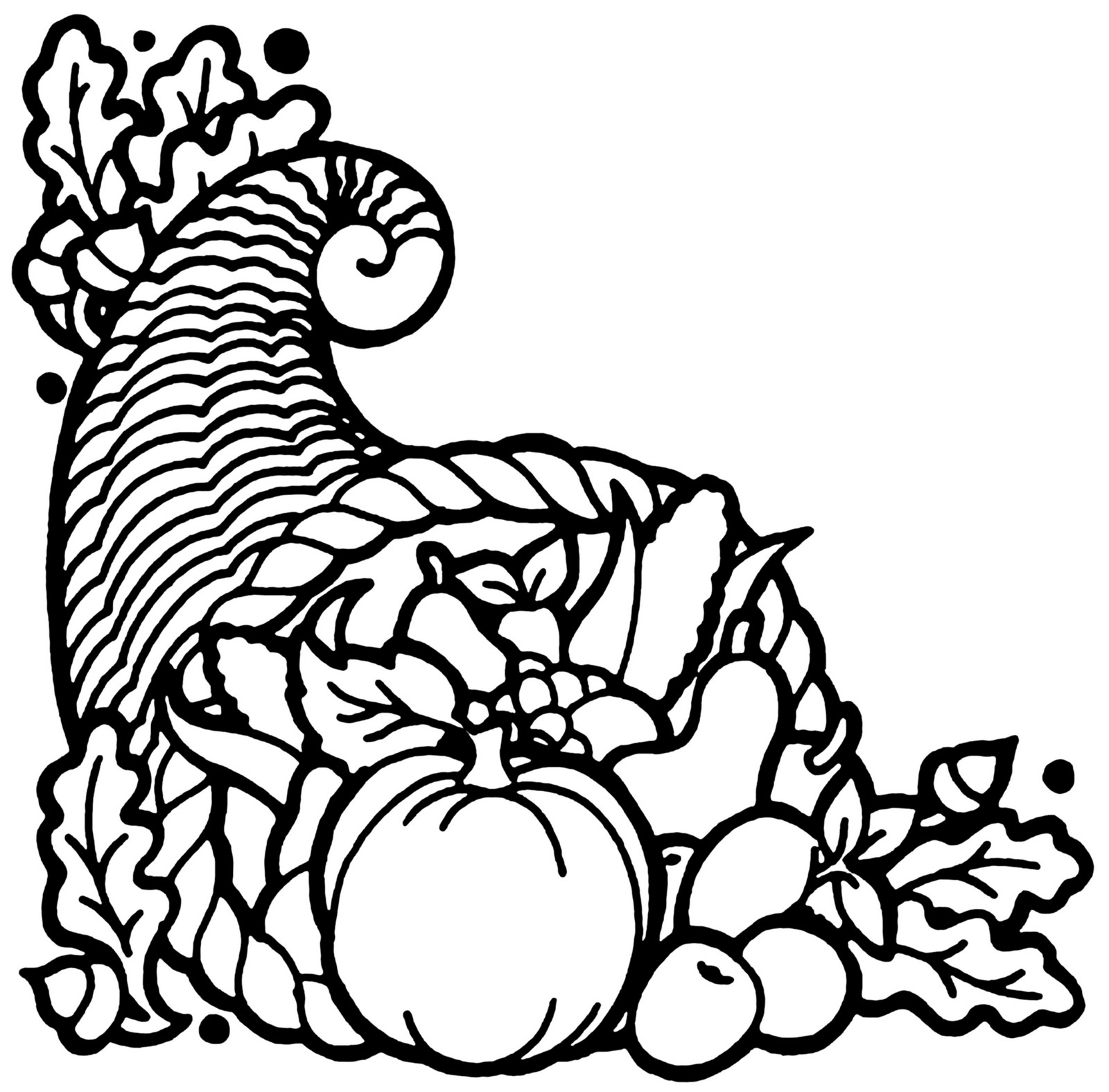 Thanksgiving Cornucopia Drawing