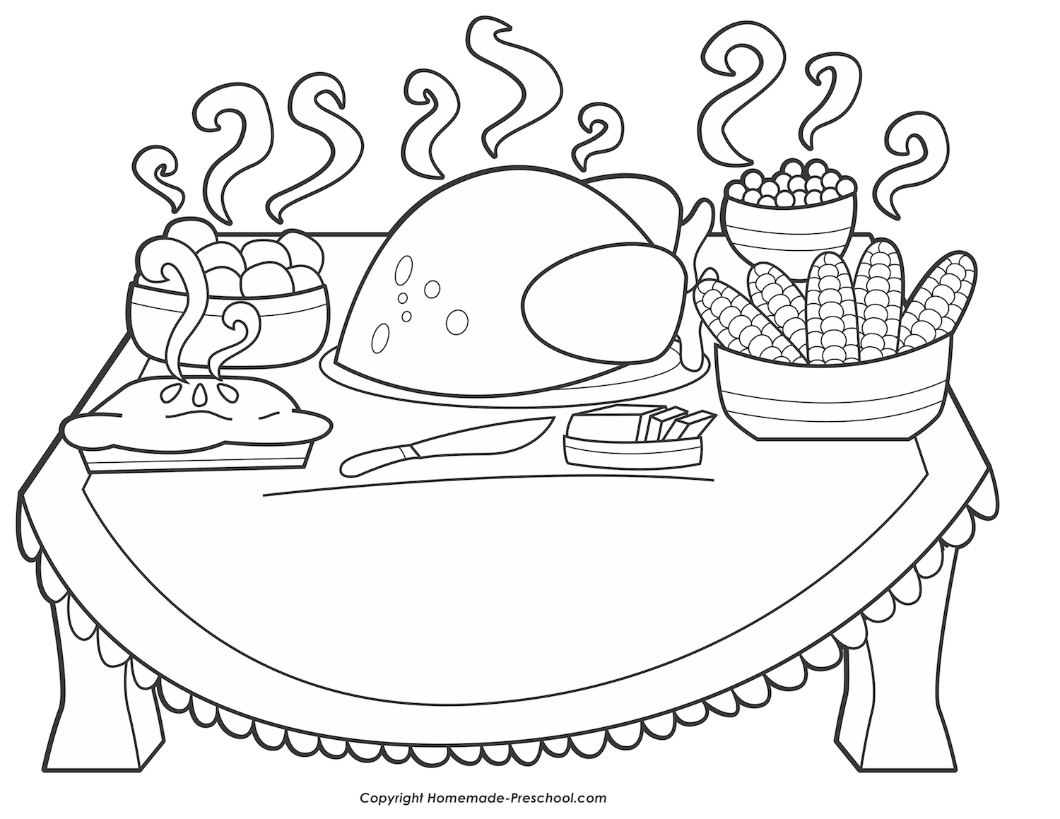 Thanksgiving Dinner Drawing at GetDrawings.com | Free for personal ...