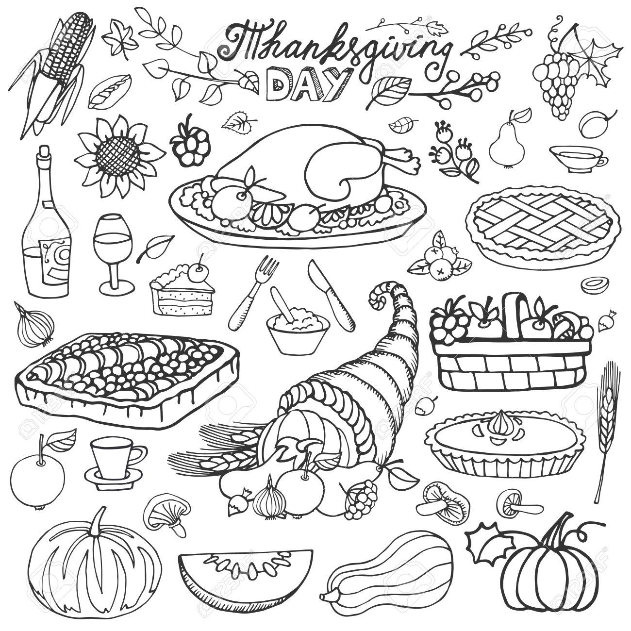 1300x1300 Thanksgiving Day Icons,doodle Food Set.autumn Harvest Decor