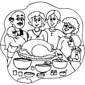 300x300 Thanksgiving Dinner Coloring Page