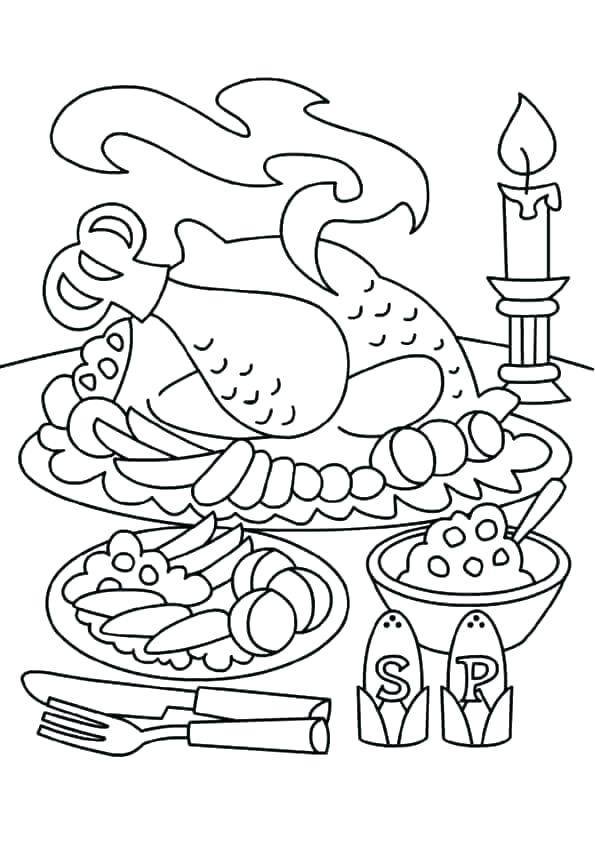 595x842 Thanksgiving Feast Coloring Pages Thanksgiving Dinner Coloring