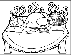 302x235 Thanksgiving Meal Coloring Pages Dinner