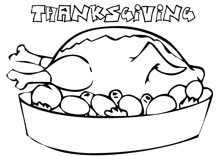 867x623 Thanksgiving Turkey Dinner Coloring Pages In Beatiful Draw Pict