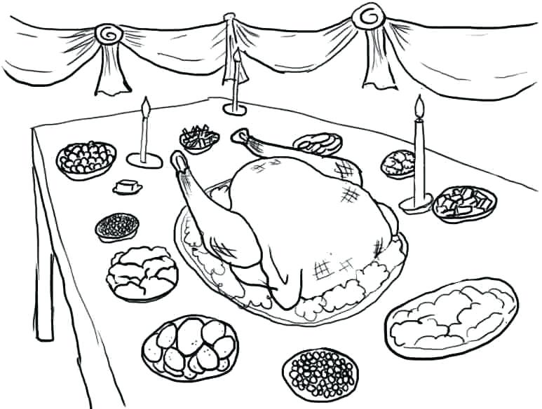 773x584 Thanksgiving Dinner Coloring Pages