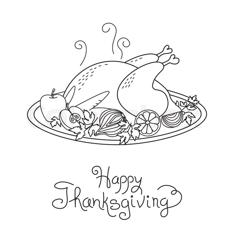 800x800 Doodle Thanksgiving Turkey Meal Freehand Vector Drawing Isolated