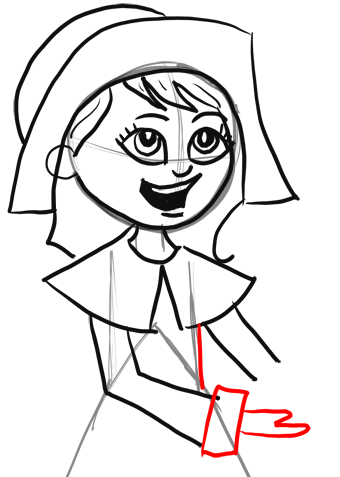 340x477 How To Draw Cartoon Pilgrim Girl For Thanksgiving Step By Step