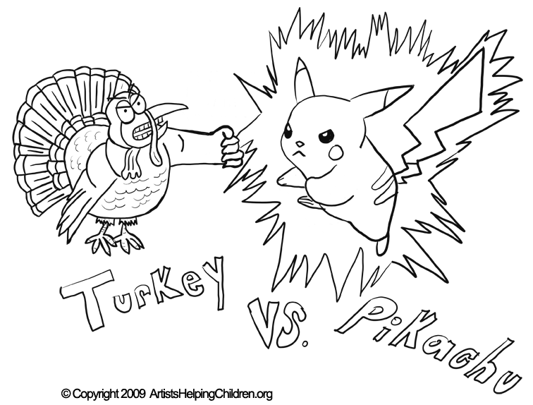 756x574 Thanksgiving Pikachu Fighting Turkey Crafts Activity Coloring