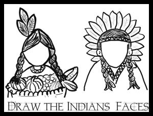 300x229 Thanksgiving Draw Indian Faces Coloring Printables Activity