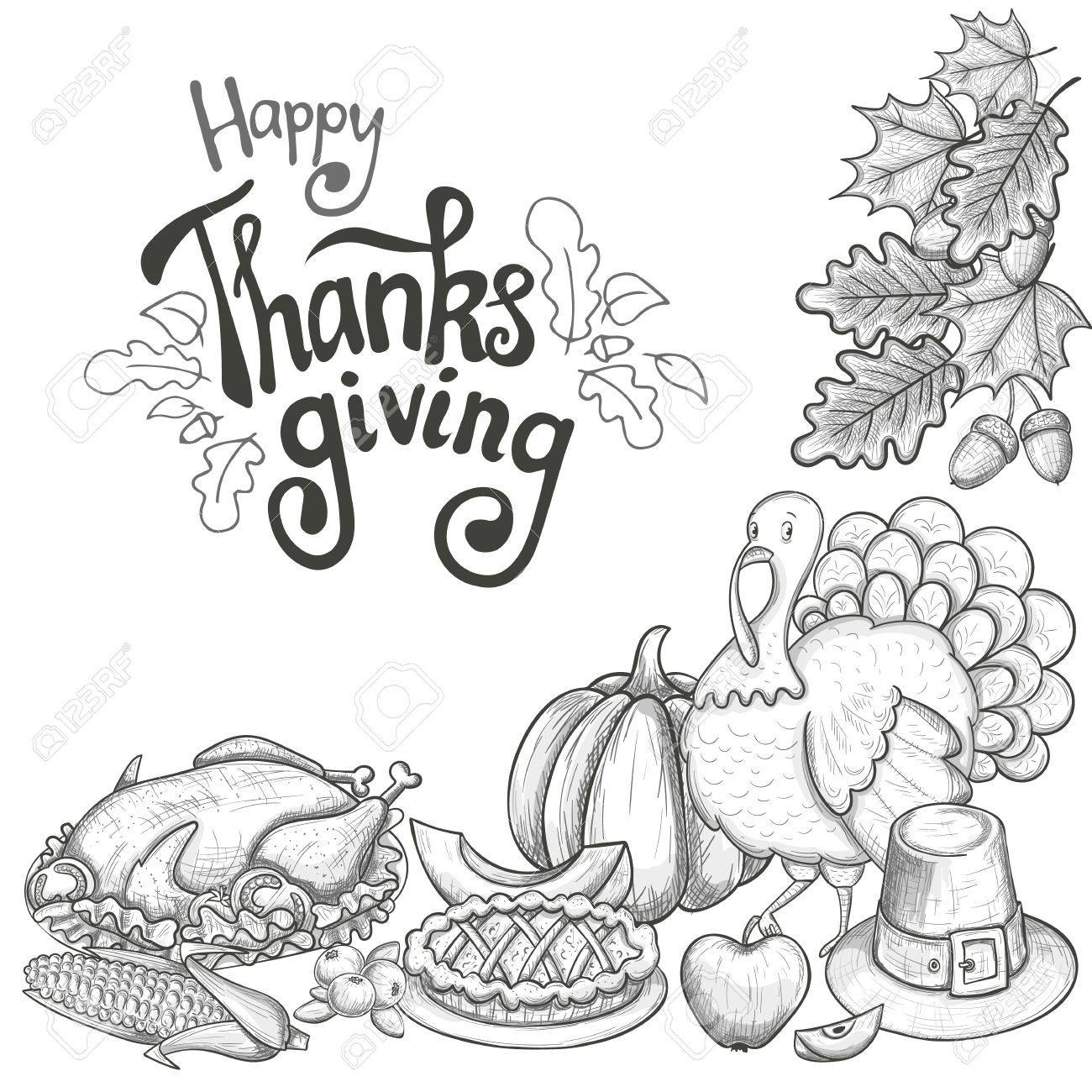 1300x1300 Corner Frame With Thanksgiving Icons. Sketch Style Thanksgiving