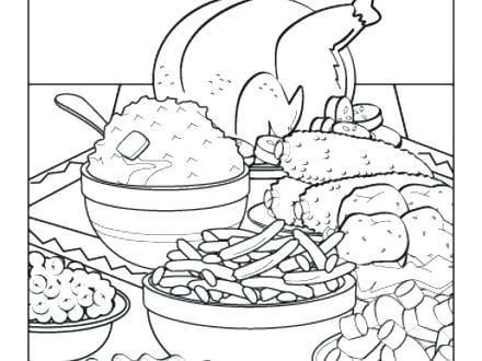 440x330 Thanksgiving Dinner Coloring Pages Thanksgiving Feast Coloring
