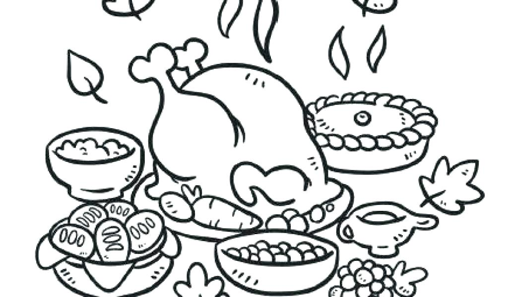 1024x600 Thanksgiving Food Coloring Pages Thanksgiving Feast Coloring Pages