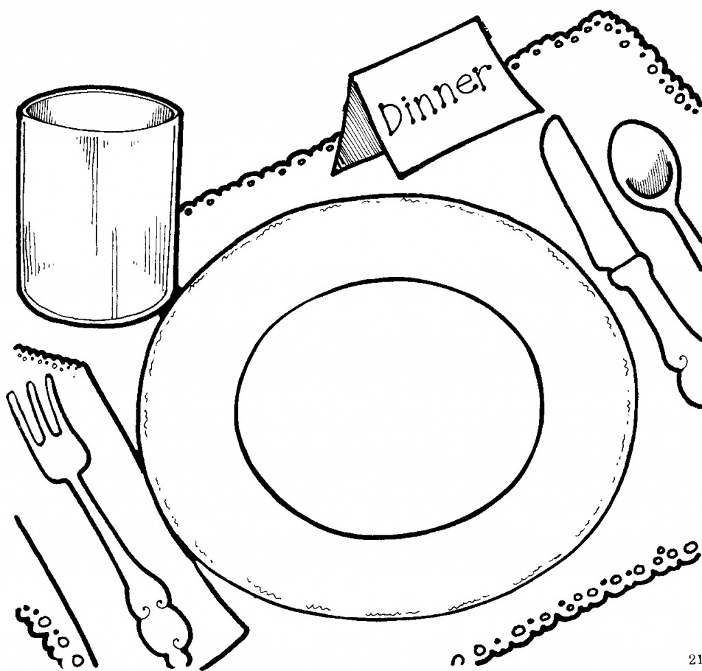 1024x979 Thanksgiving Dinner Clipart Black And White Clip Art