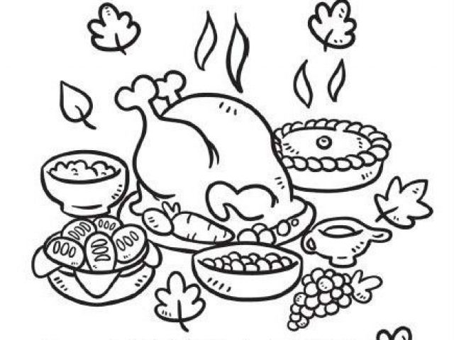 Elegant 640x480 Turkey Dinner Coloring Pages