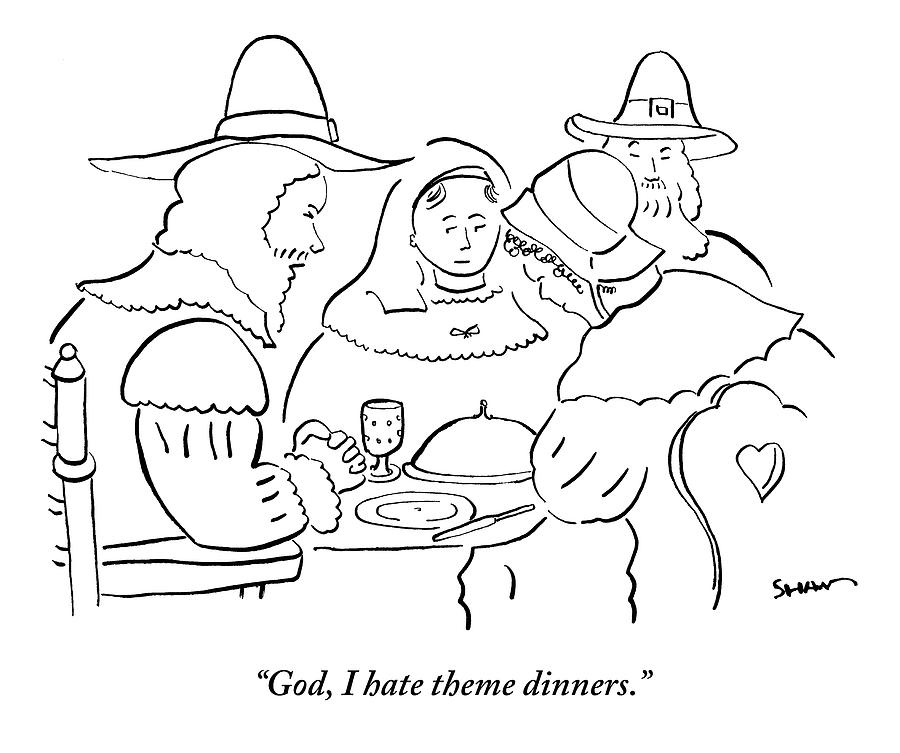 900x753 Pilgrims At Thanksgiving Dinner Table Drawing By Michael Shaw