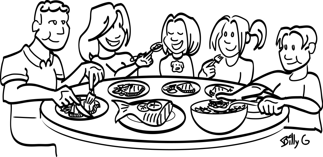 1123x548 Thanksgiving Dinner Table Clipart Black And White