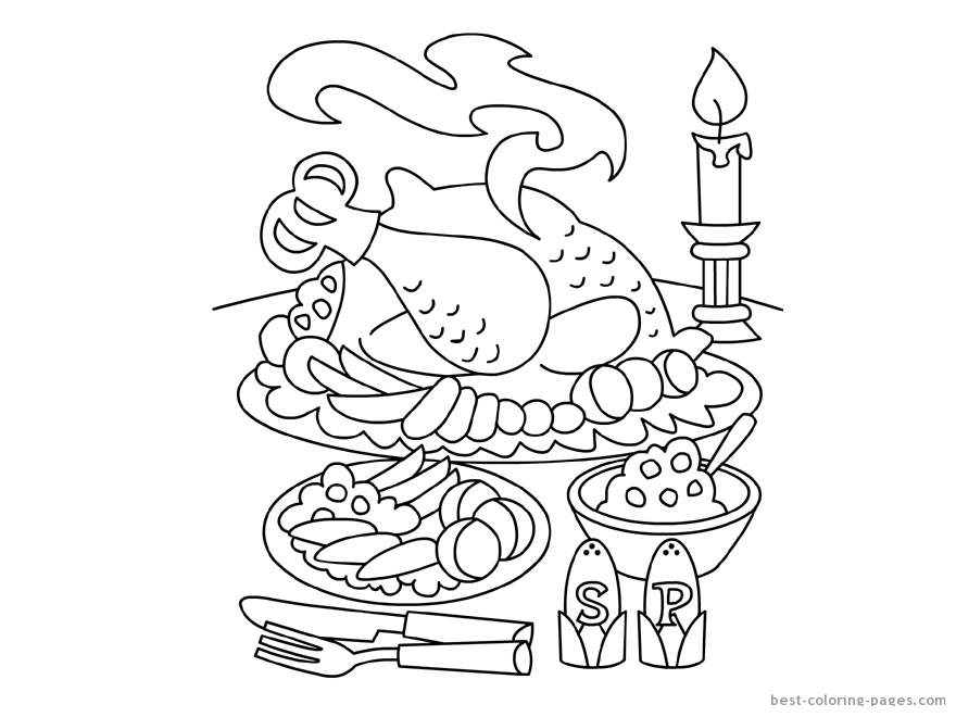 880x660 Thanksgiving Table Coloring Pages