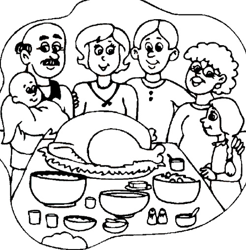 500x509 The Big Family Thanksgiving Dinner Coloring Page Thanksgiving
