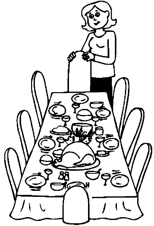 614x900 Dinner Table Coloring Sheet