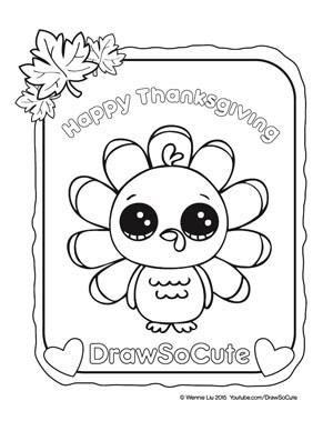 300x388 Coloring Pages Draw A Thanksgiving Turkey