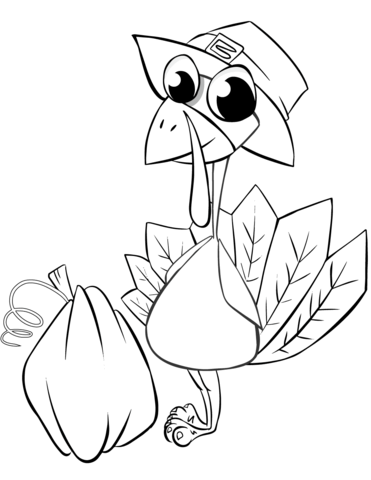 371x480 Thanksgiving Turkey With Pumpkin Coloring Page Free Printable